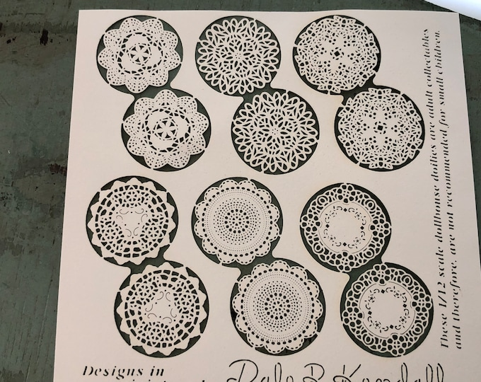 Miniature Doilies, Laser Cut Paper Doilies Set, Style 125, Various Styles & Sizes, Dollhouse Miniatures, 1:12 Scale, Dollhouse Decor