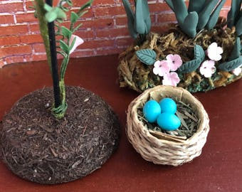Miniature Nest With Eggs, 3 Blue Eggs in Nest, Dollhouse Miniature, Accessory, Decor, Crafts, Topper, Embellishment, Little Nest