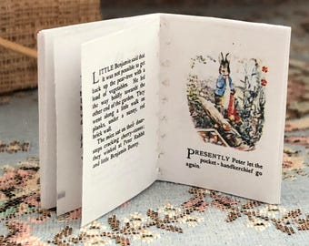 Miniature Benjamin Bunny Readable Book, Text and Color Illustrations, Potter Book,  Dollhouse Miniature, 1:12 Scale, Mini Book