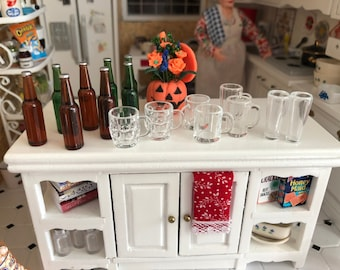 Miniature Beer Bottle and Mugs Set, 16 Piece Set, Miniature Glasses, Mugs and Bottles, Dollhouse Miniatures, 1:12 Scale