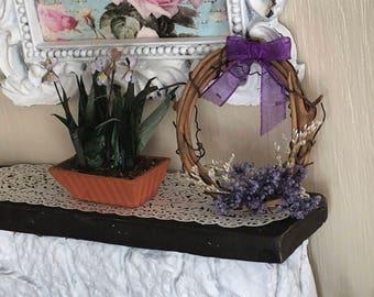 Miniature Wreath, Decorated Grapevine Wreath, Purple Flowers and Bow, Dollhouse Miniature, 1:12 Scale, Dollhouse Decor, Accessory