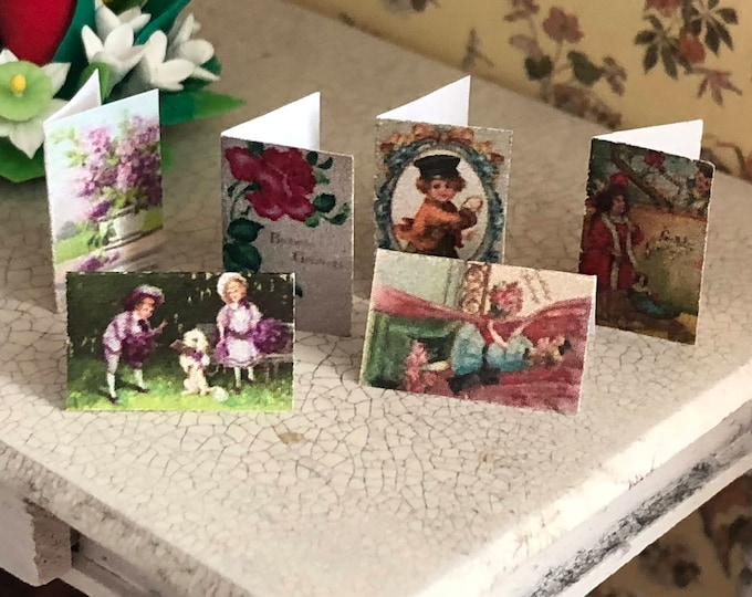 Miniature Cards, Birthday Card Set, 6 Pieces, Dollhouse Miniature, 1:12 Scale, Dollhouse Accessory, Decor, Crafts, Embellishments