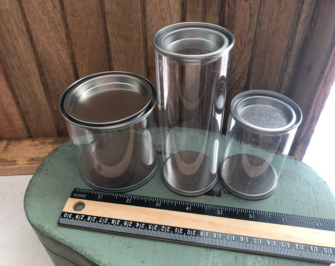 Round Clear PVC and Steel Can, Choose 1 of 3 Sizes, 2x3, 2x5 or 3x3 Clear Storage Gift Cans