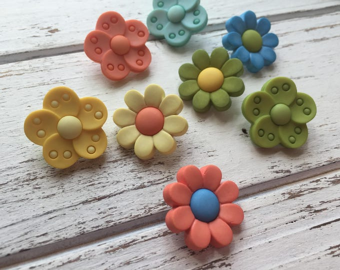 "Featured listing image: Flower Buttons, Packaged Novelty Buttons ""Flower Power"" #4225 by Buttons Galore, Assorted Colors, Shank Back Button, Embellishments"