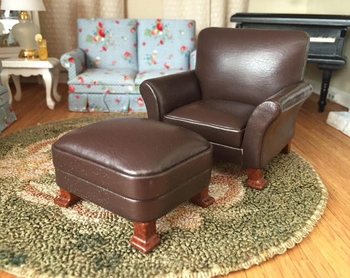 Miniature Chair and Ottoman, Brown Leather Chair and Ottoman, Dollhouse Miniature Furniture, 1:12 Scale, Mini Leather Chair, Wood Legs