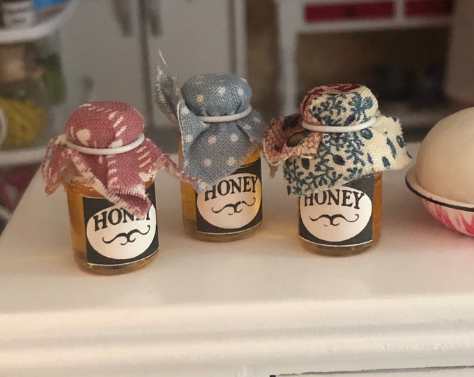 Miniature Honey, Canned Honey Jar, Choose Lid Fabric, Mini Canning Jar, Dollhouse Miniature, 1:12 Scale, Dollhouse Accessory, Mini Food
