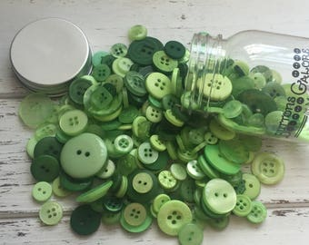 "Hand Dyed Buttons, ""Greenery"", Mixed Buttons, 200 Buttons, Plastic Mini Mason Jar by Buttons Galore, 2 & 4 Hole Assortment"