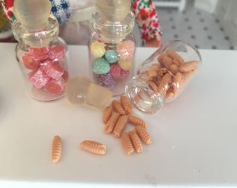 Miniature Jar Filled with Rolled Wafer Cookies, Dollhouse Miniature, 1:12 Scale, Mini Food, Dollhouse Food, Accessory, Decor, Crafts