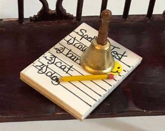 Miniature School Bell Paper and Pencil, Teacher Desk Decor Accessories, Dollhouse Miniature, 1:12 Scale, 3 Piece Mini Set, Paper Pad, Pencil