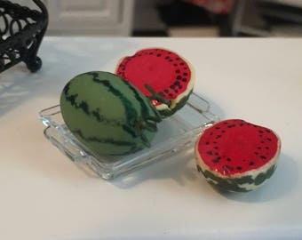 Miniature Watermelon, Sliced and Whole With Clear Tray, 4 pc Set, Dollhouse Miniature, 1:12 Scale, Miniature Food, Dollhouse Food