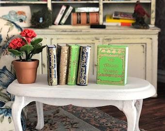 Miniature Gardening Books, 5 Piece Garden Reference Set, Dollhouse Miniature, 1:12 Scale, Mini Books, Dollhouse Accessory, Decor, Crafts
