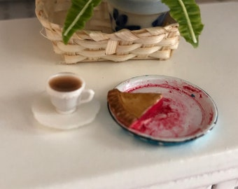 Miniature Pie & Coffee Set, Slice of Pie in Blue Flow Pie Pan and Filled Coffee Cup on Saucer, Dollhouse Miniature, 1:12 Scale