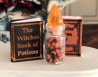 Miniature Halloween Candy Jar, Mini Jar Filled with Candy, Dollhouse Miniature, 1:12 Scale, Dollhouse Accessory, Food, Decor, Crafts
