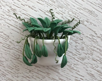 Miniature Philodendron in Ceramic Wall Planter Pocket, Dollhouse Miniature, 1:12 Scale, Mini Flower Wall Pocket, Crafts, Embellishment
