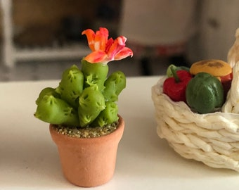 Miniature Cactus, Tall Flowering Cactus in Clay Flower Pot, Style #4,  Dollhouse Miniature, 1:12 Scale, Accessory, Decor, Mini Plant
