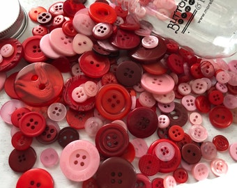 "Hand Dyed Buttons, ""Valentine"", Mixed Buttons, 200 Buttons, Plastic Mini Mason Jar by Buttons Galore, 2 & 4 Hole Assortment"