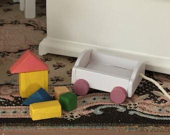 Miniature Toy, Wood Wagon with Blocks, Dollhouse Miniature, 1:12 Scale, Dollhouse Accessory, Mini Toy, Dollhouse Decor, Crafts