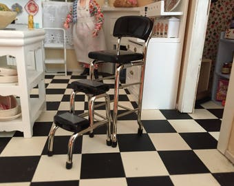 Miniature Black Metal Stool With Step Stool, Vintage Style Stool, Kitchen Stool, Dollhouse Miniature Furniture, 1:12 Scale