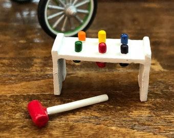 Miniature Toy, Pound a Peg Toy, Dollhouse Miniature, 1:12 Scale, Dollhouse Accessory, Decor Item, Crafts, Mini Pound a Peg With Mallet Set