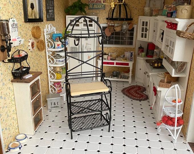 Miniature Kitchen Rack, Black Metal Rack, Dollhouse Miniature Furniture, 1:12 Scale, Dollhouse Kitchen Rack With Shelves &  Pot Hooks,