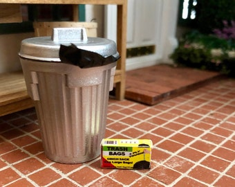 Miniature Garbage Can with Liner and Mini Box of Bags, Dollhouse Miniature, 1:12 Scale, Mini Trash Can and Bags, Dollhouse Accessory, Decor