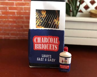 Miniature Charcoal Briquets and Lighter Fluid Bottle, Dollhouse Miniature, 1:12 Scale, Dollhouse Accessory, Decor, Mini Yard Garden Decor