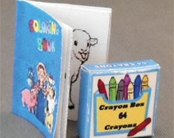 Miniature Farm Coloring Book and Crayon Box, 2 Piece Set, Dollhouse Miniature Decor Accessories, 1:12 Scale