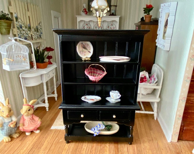 Miniature Black Hutch, Two Drawer Hutch with Bottom Shelf, Dollhouse Miniature, 1:12 Scale, Dollhouse Furniture, Wood Hutch