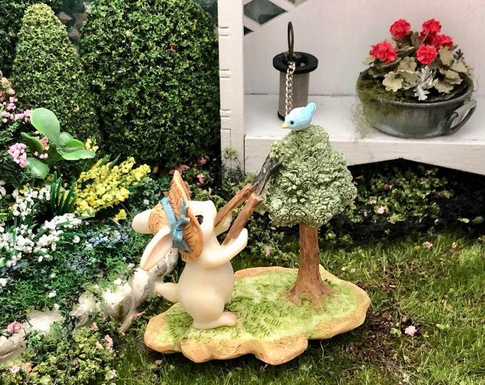 Bunny and Bird Figurine, Bunny Gardener Pruning Tree Style #63, Fairy Garden Accessory, Miniature Garden Decor, Figurine