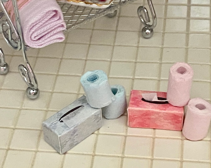 Miniature Tissue Box and Toilet Paper Rolls, 3 Pc Set, Choose Blue or Pink, Dollhouse Miniatures, 1:12 Scale, Dollhouse Bathroom Decor