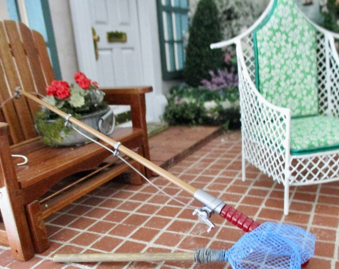 Miniature Fishing Rod, Fishing Pole With Reel, Dollhouse Miniature, 1:12 Scale, Dollhouse Accessory, Mini Fishing, Fairy Garden Accessory