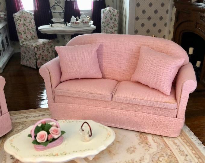 Miniature Sofa, Pink Sofa With Pillows, Dollhouse Miniature Furniture, 1:12 Scale, Dollhouse Love Seat Sofa, Mini Furniture, 1 Inch Scale