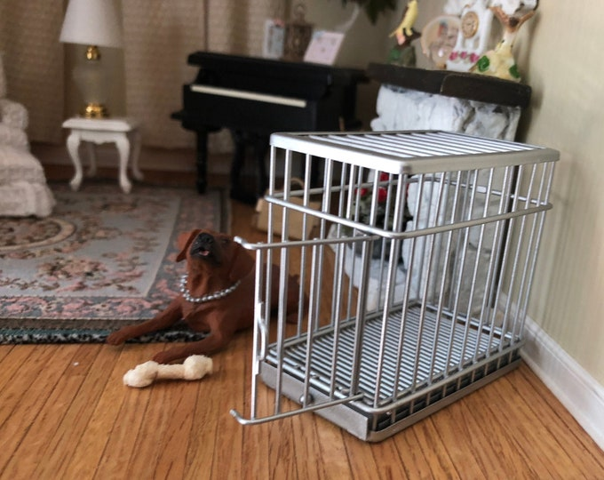 Miniature Dog Cage, Mini Metal Pet Cage Crate with Working Door, Dollhouse Miniature, 1:12 Scale, Dollhouse Decor, Accessory, Topper