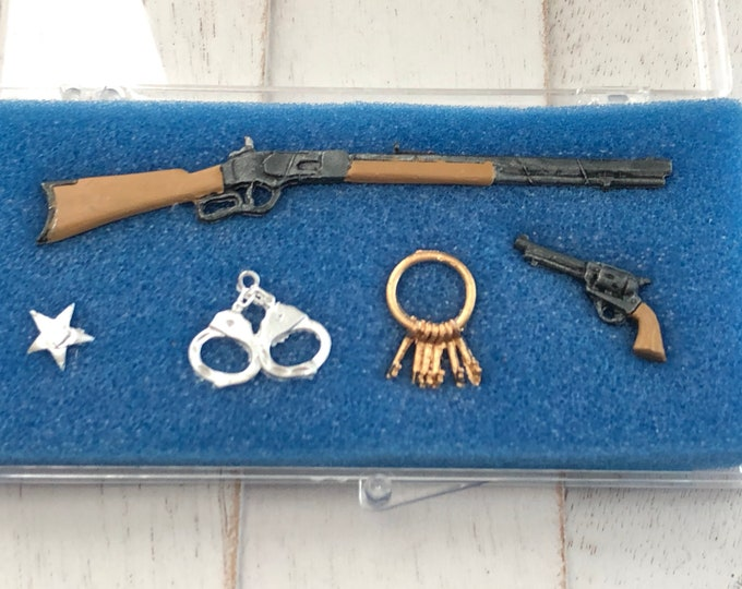 Miniature Sheriff Police Set, Miniature Rifle, Pistol, Handcuff, Keys and Badge, Dollhouse Miniature, 1:12 Scale