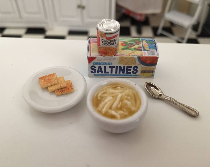 Miniature Soup Set, Chicken Noodle Soup, Crackers, Can and More, Dollhouse Miniature, 1:12 Scale, Dollhouse Food, Accessory, Mini Food