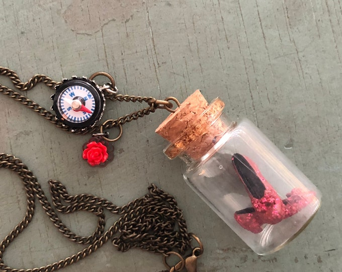 Glass Cork Top Jar Necklace, Jar Filled With Mini Ruby Slipper Shoes Style #JF4, Mini Shoes, Compass and Rose Charm, No Place Like Home