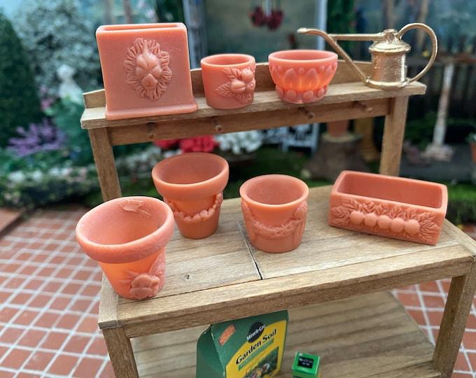 Miniature Flower Pots Set, Assorted Garden Pots, 7 Piece Set, Dollhouse Miniature, 1:12 Scale, Dollhouse Accessory, Mini Gardening