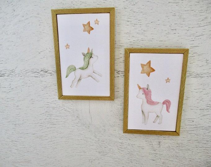Miniature Framed Pictures, Unicorn Picture Set, Wood Gold Painted Edge Frames, 2 Piece Set, Dollhouse Miniatures, 1:12 Scale