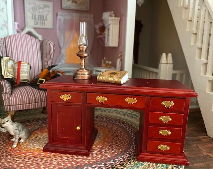 Miniature Desk, Mini Mahogany Finish Wood Desk, Dollhouse Furniture, 1:12 Scale, Mini Knee Hole Desk with Drawers and Side Door