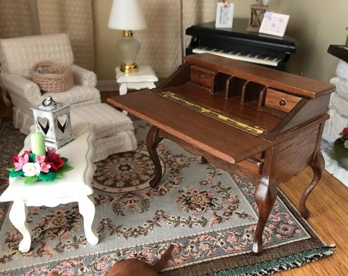 Miniature Desk, Vintage Block House Drop Front Desk With Drawers and Cubbies, Dollhouse Miniature Furniture, 1:12 Scale, Wood Desk