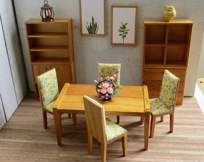 Miniature Dining Room Set, 9 Piece Set, Wood Furniture With Shelves, Cubbies And Doors, CLEARANCE Priced,  Dollhouse Miniature Furniture