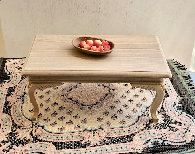Miniature Unfinished Table, Wood Dining Table, Dollhouse Miniature, 1:12 Scale