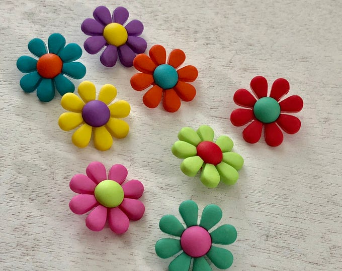 "Featured listing image: Flower Buttons, Packaged Button Assortment by Buttons Galore, ""Funky Flowers"" Style 4226, Shank Back Buttons, Embellishments"