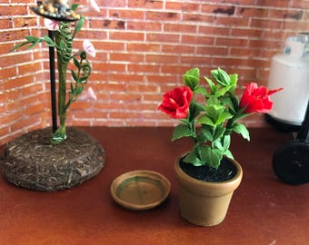 Miniature Hibiscus, Mini Red Hibiscus in Clay Flower Pot With Removable Saucer, Dollhouse Miniature, 1:12 Scale, Mini Flower