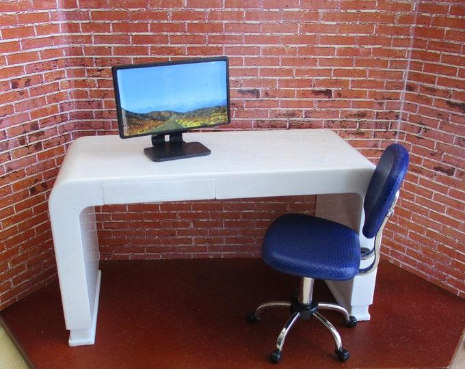 Miniature Desk Set, Monitor, Swivel Chair and Desk, 3 Pc Set, Dollhouse Miniature Furniture, 1:12 Scale, Dollhouse Office, Decor