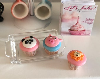 Miniature Cupcakes, Animal Cupcakes, Style 2, Set of 3, Panda, Pig and Tiger Cupcakes, Dollhouse Miniatures, 1:12 Scale, Dollhouse Food