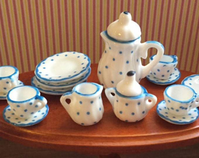 Miniature Polka Dot Tea Set, Dollhouse Miniatures, 1:12 Scale, 17 Piece Set, Dollhouse Accessory, Decor, Dishes, Cream, Sugar