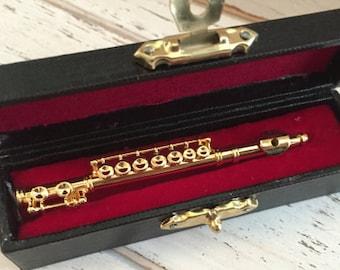 Miniature Flute with Case, Mini Musical Instrument, Decor, Topper, Accessory, Mini 2 Inch Gold Flute