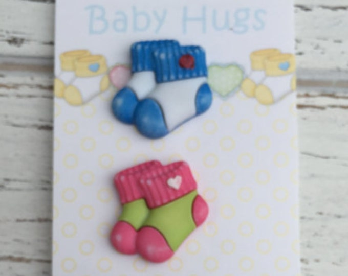 "Baby Sock Bootie Buttons, Carded Set of Novelty Buttons by  Buttons Galore, Baby Hugs Collection, ""Babies Booties"" Style WBH130, Shank Back"