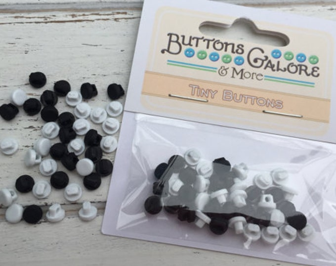 Tiny Round Black and White Buttons, Packaged Shank Back Buttons by Buttons Galore, Style 1821, Sewing, Crafting Embellishments